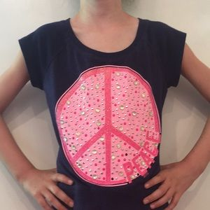 Justice t-shirt with large jeweled peace sign